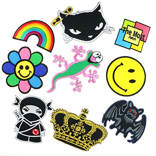 [Lot of 9 (8+1) Cute Smile Rainbow Bat Cat Ninja Crown Flower Sunflower Lizard Logo Embroidered Iron / Sew On] (Fairy Wing Tattoos)