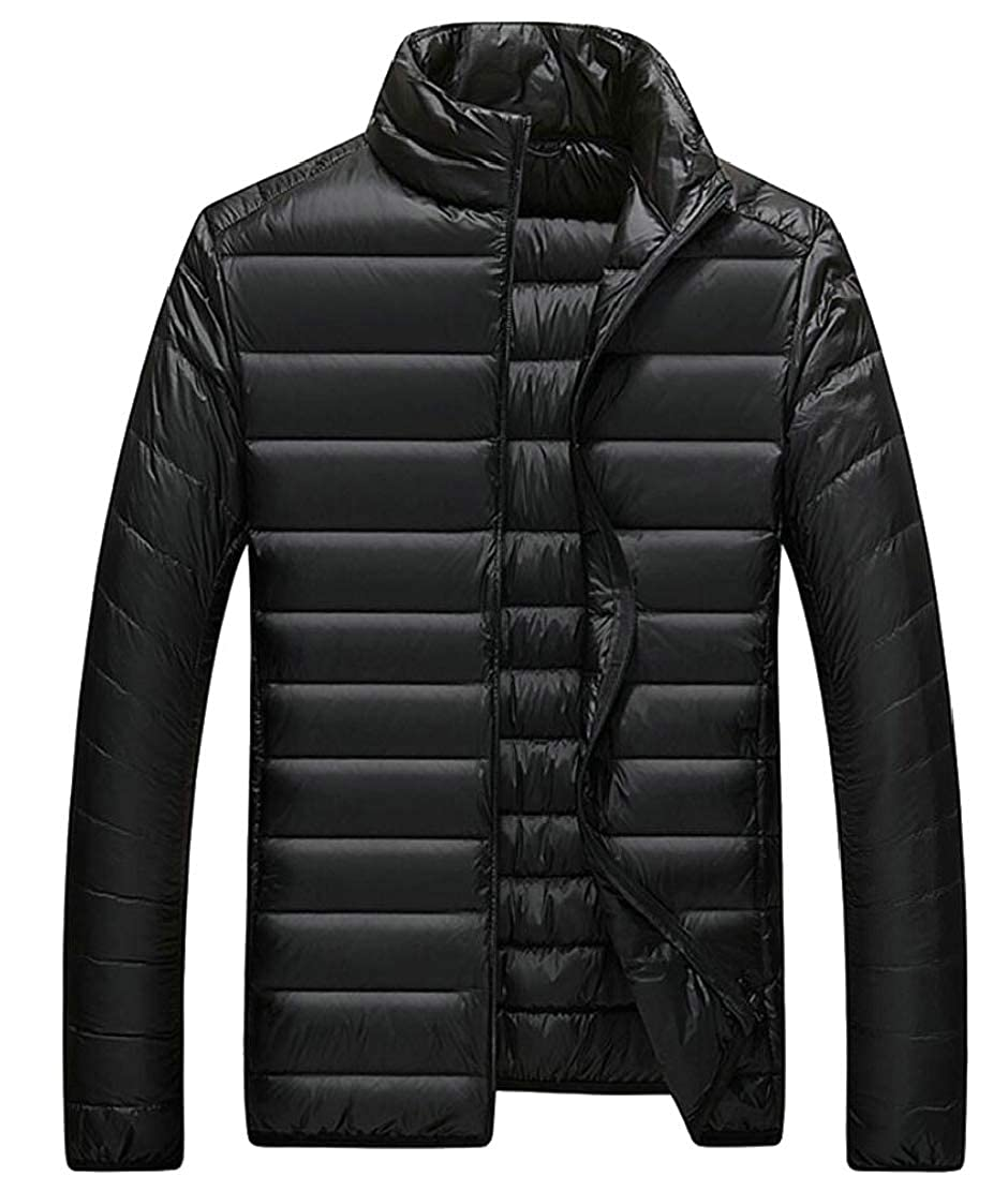 Yayu Mens Stand Collar Down Coats Packable Down Puffer Jacket