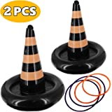 heytech 2 Pack Inflatable Witch Hat Ring Toss Game Halloween Games for Kids Wearable or Placement(2 Hats & 4 Rings…