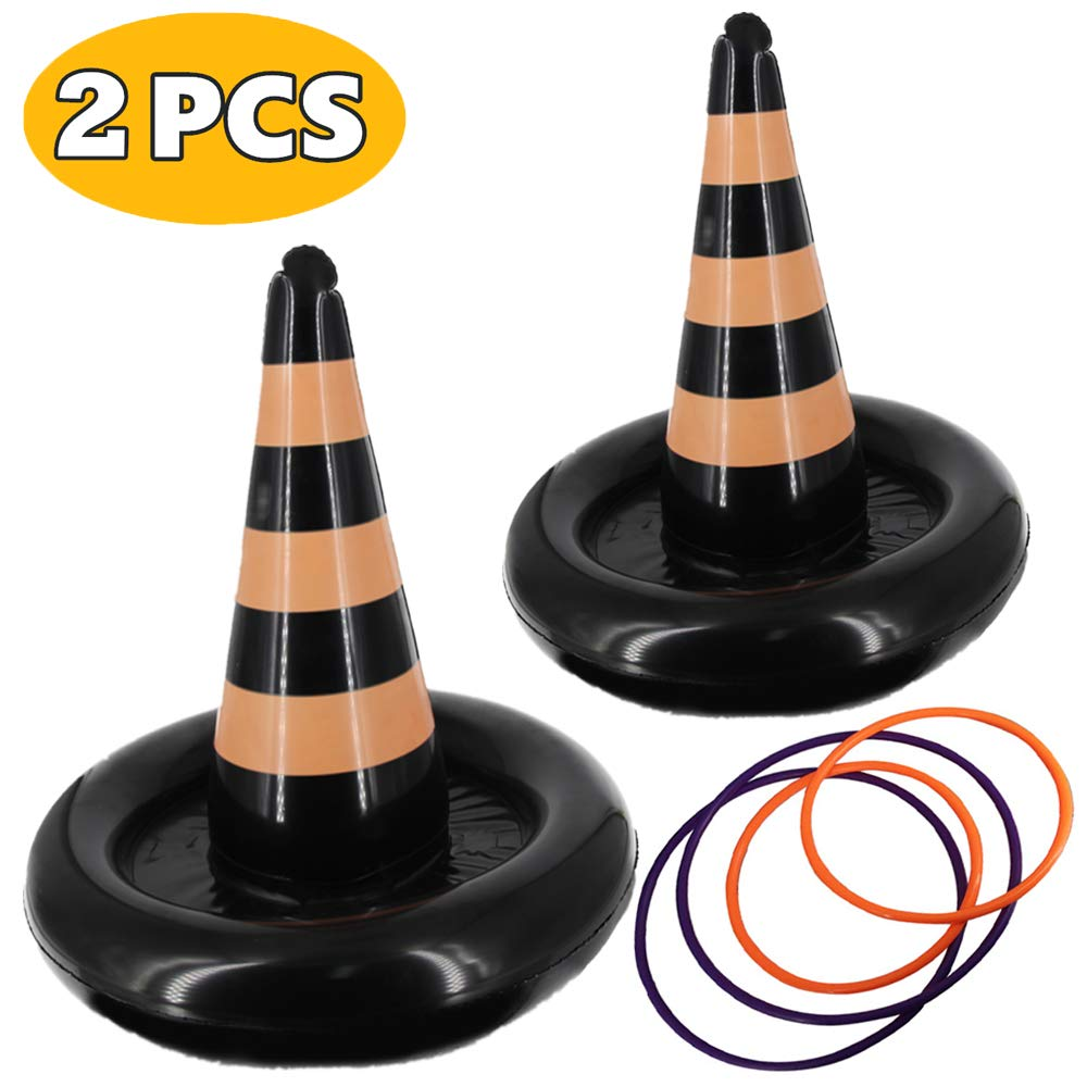 heytech 2 Pack Inflatable Witch Hat Ring Toss Game Halloween Games for Kids Wearable or Placement(2 Hats & 4 Rings ) by heytech