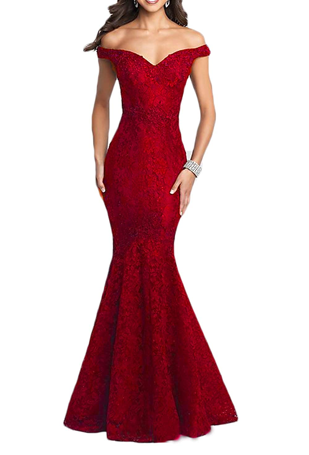 Red Ri Yun Elegant Off The Shoulder Lace Prom Dresses Long Mermaid Beaded Formal Evening Ball Gowns 2018