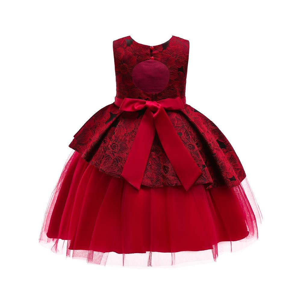 Iuhan Little Girls Party Dresses Child Lace Bowknot Princess Formal Tutu Dress Clothes