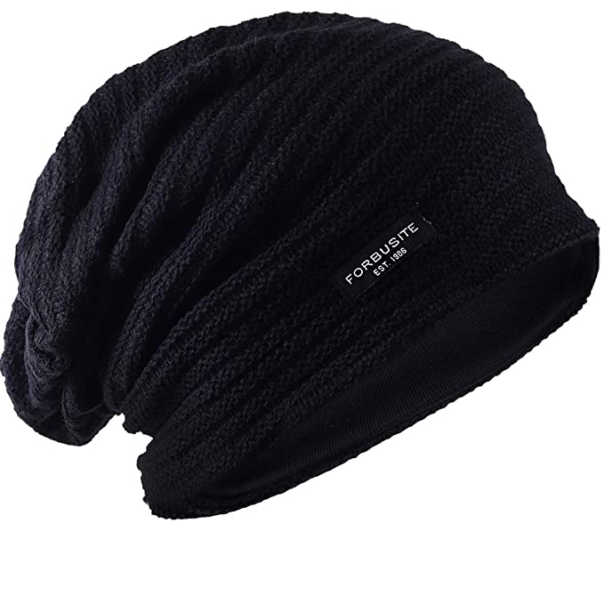 27f5616db07 FORBUSITE Mens Slouchy Knit Beanie Summer Winter Skullcap Hats B306 (Black)