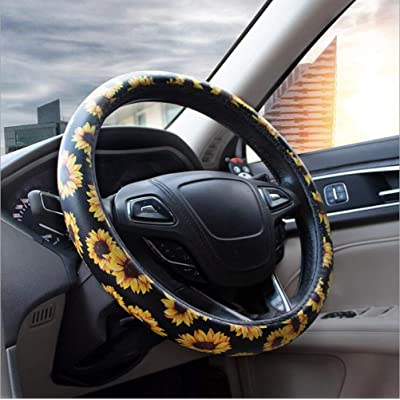 Carmen Sunflower Steering Wheel Cover Microfiber Leather Universal 15 Inch Floral Design Car Accessories Women Girls Best Gift: Automotive