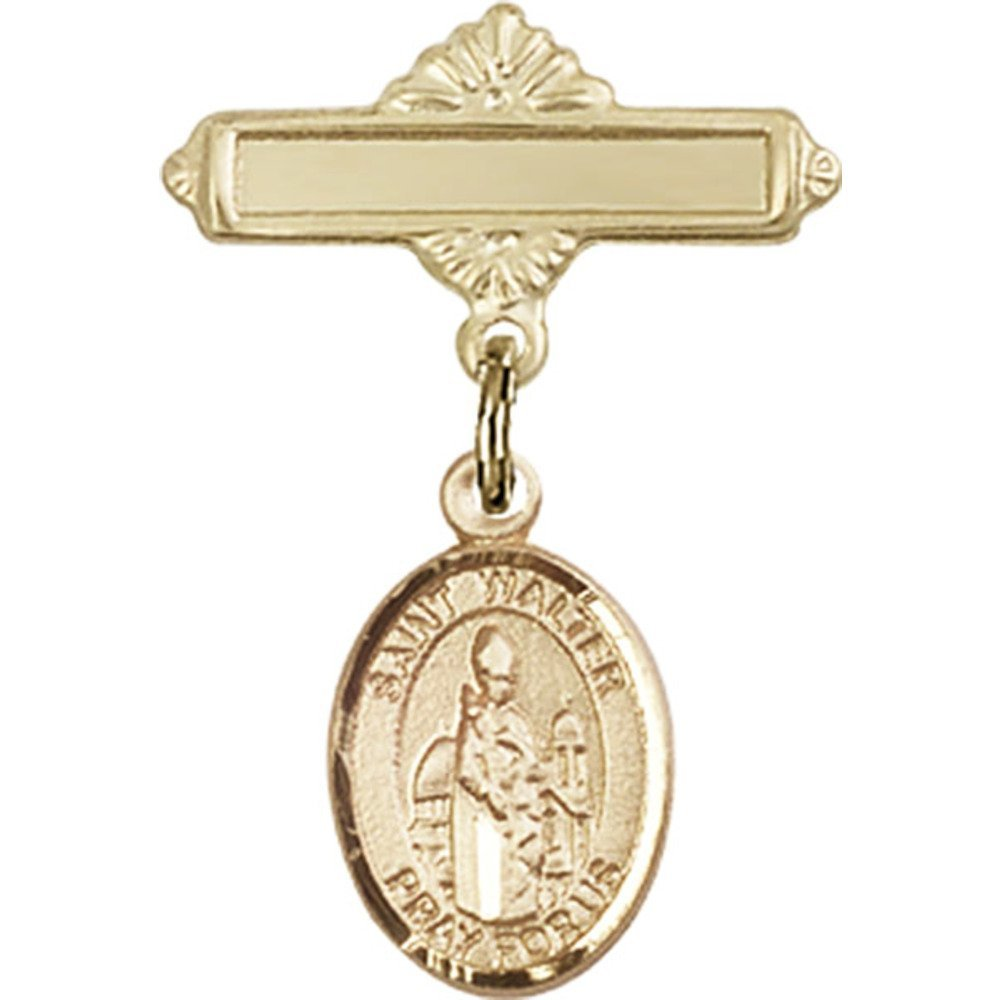 14kt Yellow Gold Baby Badge with St. Walter of Pontnoise Charm and Polished Badge Pin 1 X 5/8 inches