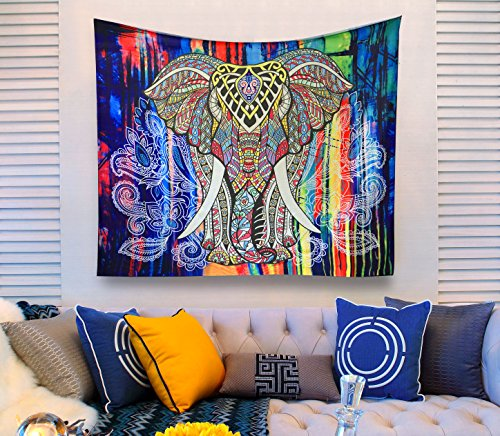 Queen Mandalay (Aidvox Elephant Tapestry Wall Hanging Decor Indian Home Hippie Bohemian Tapestry Indian Wall Decor Tapestries (51.2