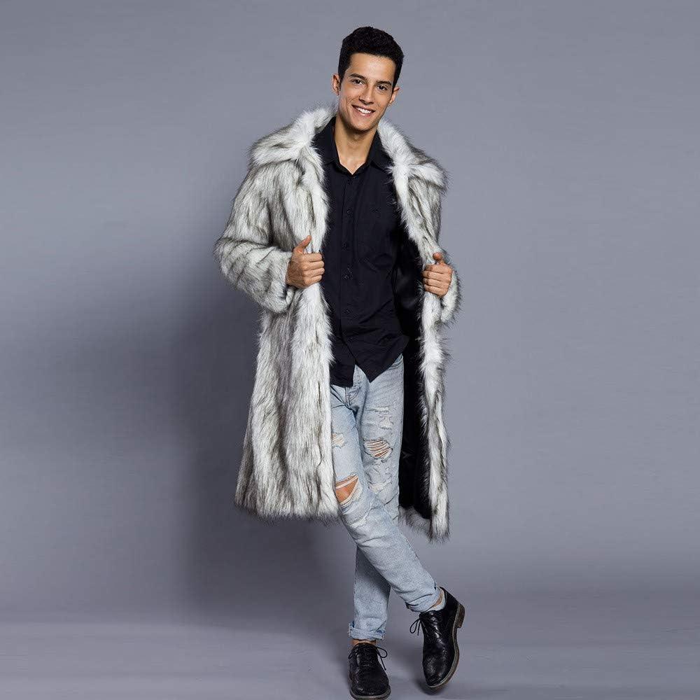 Limsea 2019 Mens Faux Fur Leopard Thick Warm Fur Collar Coat Jacket Parka Outwear Cardigan