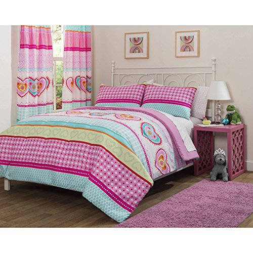 MFN 5 Piece Girls Hot Pink Hearts Stripes Patchwork Printed Comforter Set Twin With Sheets, Turquoise Lime Green Pink Bold Line Geometric Design Graphic Printed Kids Bedding Teen Bedroom, Polyester (Pink Piece 5 Hearts)