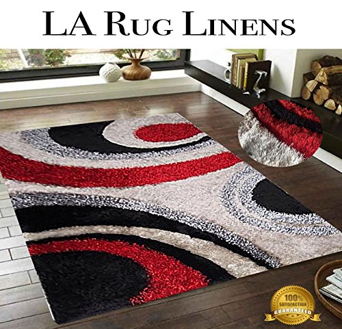 LA Rug Linens Red Black Light Gray Circles 3D Shaggy Area Rug 8x10 Multi Toned Hand Woven Tufted 3 Dimensional Viscose Yarns Thick Pile N-289 Bedroom Livingroom