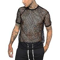 Men's Fishnet Shirts Tank Top - Summer Short Sleeve Mesh See Through Shirt