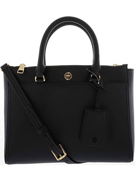 694be1734bf1 Tory Burch Women s Small Robinson Double-Zip Leather Top-Handle Bag Tote -  Black