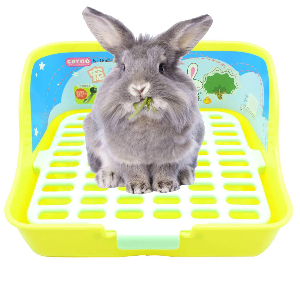 Yellow WYOK Rabbit Cage Litter Box Easy to Clean Potty Trainer for Cat Adult Guinea Pig Ferret Small Animals (Yellow)