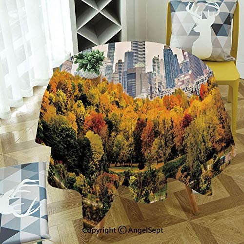 Round Tablecloth Montreal Downtown Skyscrapers Autumn Various Trees Colorful Forest Urban Life Nature for Thanksgiving, Catering Events, Dinner Parties, Special Occasions or Everyday Use, 55