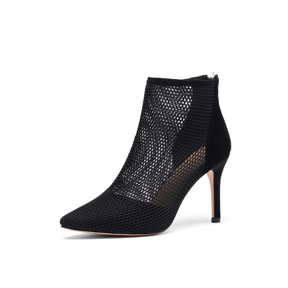 Black Nine Seven Women's Suede Leather Pointed Toe High Stiletto Heel Handmade Elegant Perforated Back Zipper Dress Ankle Boots