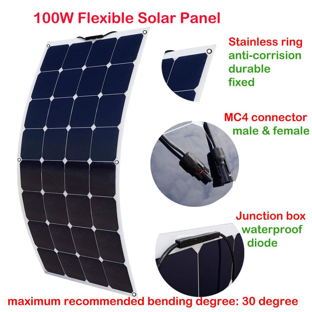 ECO-WORTHY 100 Watt Monocrystalline Bendable Lightweight Solar Module Kit for RV, Boat, Cabin, Tent, Car, Trailer, 12v Battery Charging by ECO-WORTHY (Image #2)