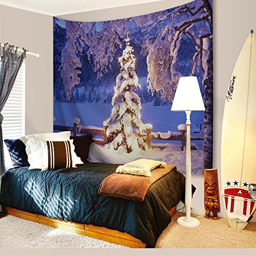 Mural Christmas - Christmas Decorations Tapestry Wall Hanging by IMEI, 3D Nature Snow Print Fabric Purple Wall Art Hanging for Living Room Office Dorm and Bedroom (80 X 60 Inch, White Snow Hoarfrost)
