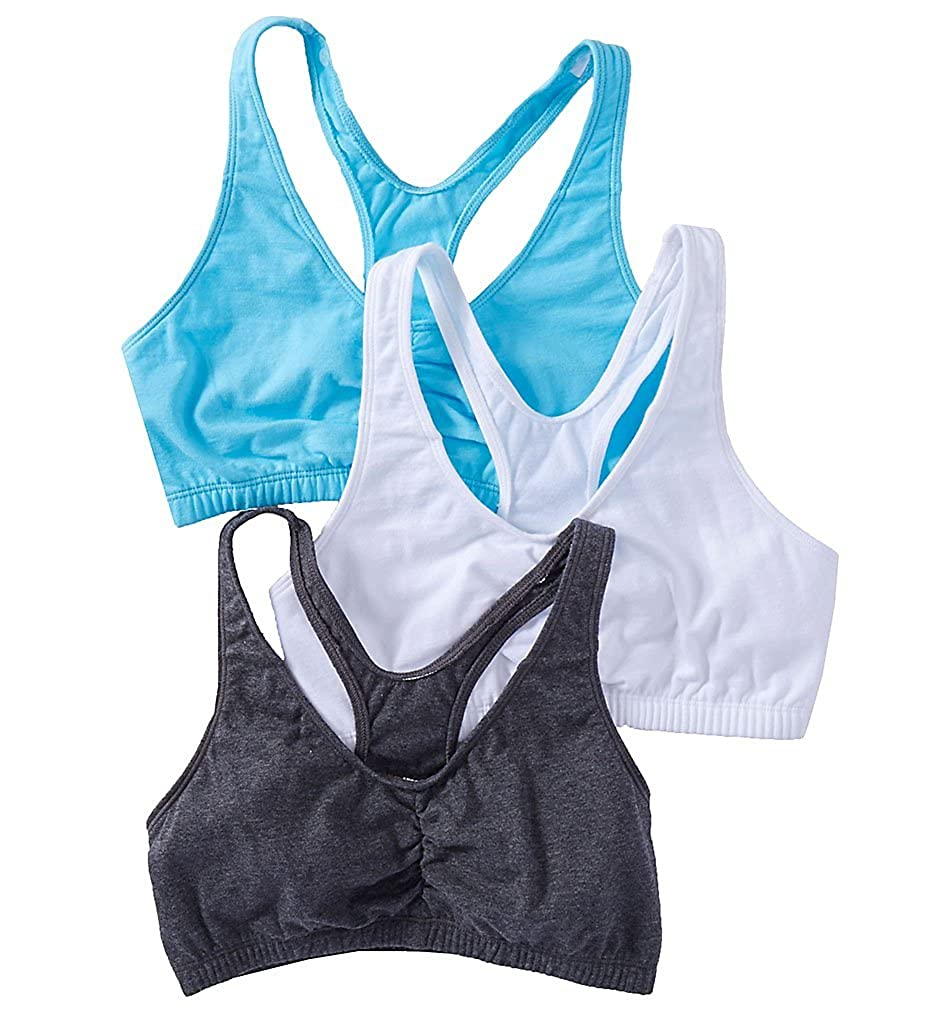 Pack of 3 Fruit of the Loom WomensShirred Front Racerback Bra
