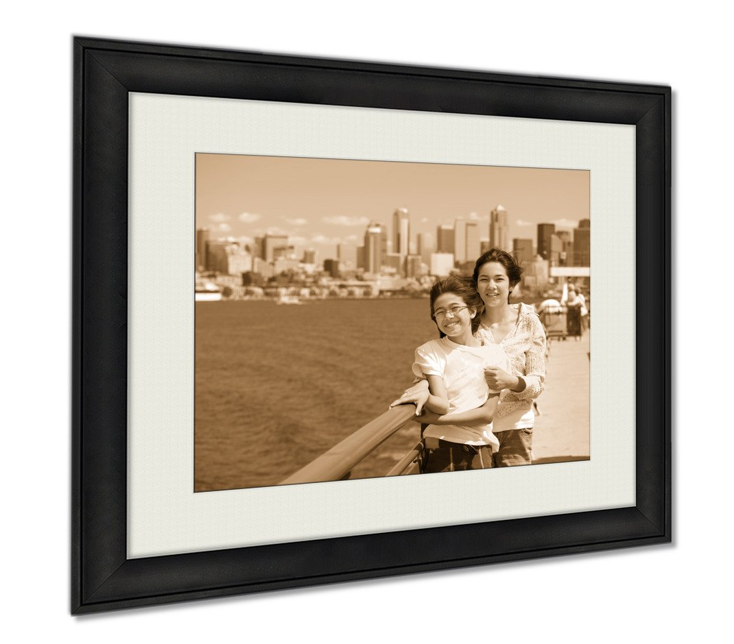 Ashley Framed Prints Two Sisters On Ferry Deck With Seattle Skyline In, Wall Art Home Decoration, Sepia, 26x30 (frame size), AG6537271 by Ashley Framed Prints