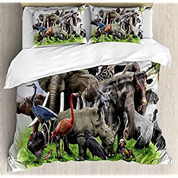 Image of Africa Luxury 4 Piece Bedding Set Twin Size, Digital Collage of Wild Animals with African Safari Animals Zoo Theme Print Artwork, Duvet Cover Set Quilt Bedspread for Kids/Teens/Adults, Multicolor