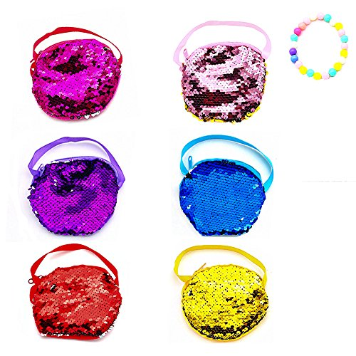 LoveInUSA Purse Sequins Set, 6 PCS Mini Sparkle Bag Purses for Little Girls Sequin Purse for Girl Diva Party - Mini Purse Sequin