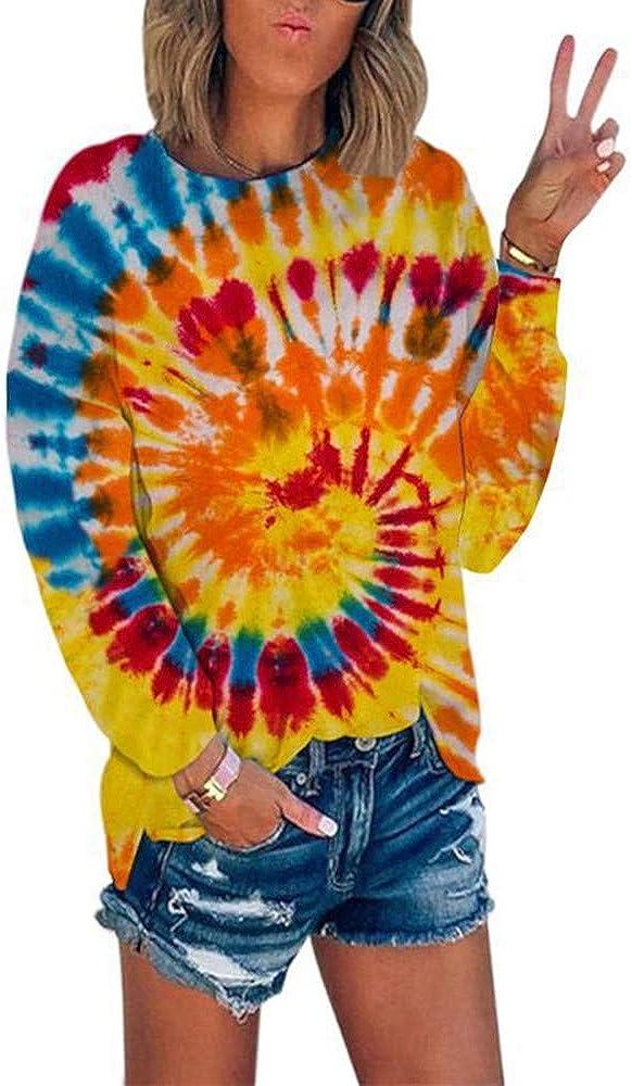 2020 OtoñO E Invierno Nuevo Cuello Redondo De Mujer con Costuras Estampadas Tie-Dye Color Degradado Urbano Casual Salvaje Dividido Camiseta De Manga Larga Mujer
