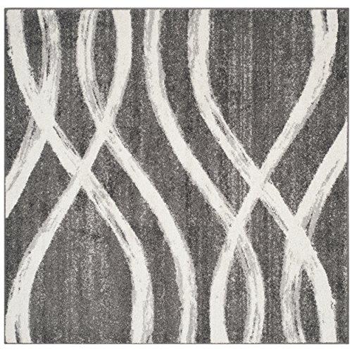 Safavieh ADR125R-6SQ Adirondack Collection ADR125R Modern Square Area Rug, 6' Square, Charcoal/Ivory (Square 6sq)