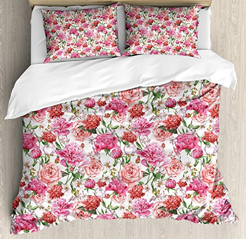 Libaoge 4 Piece Bed Sheets Set, Pink Peonies and Roses Green Leaves Exotic Gentle Bouquet Bridal Wedding Theme, 1 Flat Sheet 1 Duvet Cover and 2 Pillow Cases