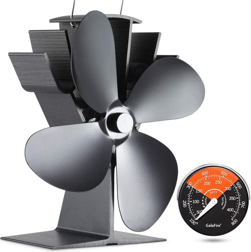 GALAFIRE [ 2 Años ] 50 °C Empezar Silencioso Ventilador de Estufa Accionado por Calor, 4 Cuchillas Negro Pequeño Ventilador de Estufa para Estufa Leña/Pellet/Gas + Termómetro Estufa de Leña