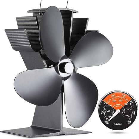GALAFIRE [ 2 Años ] 50 °C Empezar Silencioso Ventilador de Estufa Accionado por Calor, 4 Cuchillas Negro Pequeño Ventilador de Estufa para Estufa ...