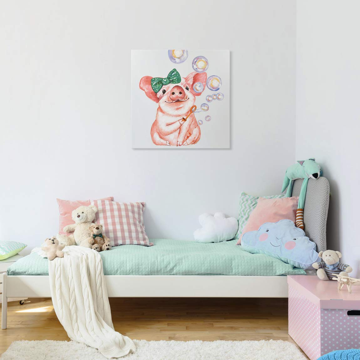 SEVEN WALL ARTS-Modern Smart Pig Hand Painted Cute Pig Paintings Colorful Animal Canvas Artwork with Stretched Ready to Hang for Home Decor 24 x 24 Inch
