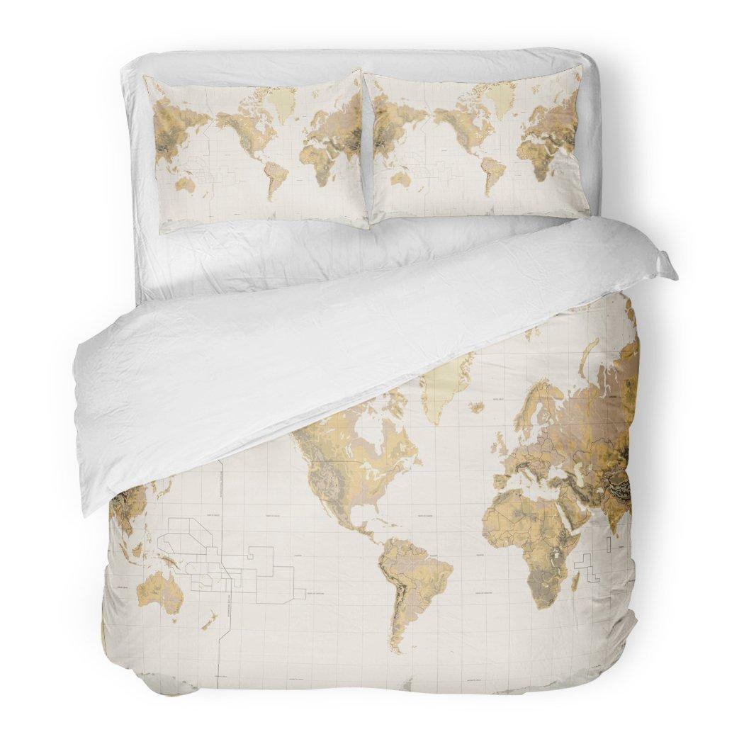 SanChic Duvet Cover Set Vintage Physical World Map America Centered Colors Decorative Bedding Set with 2 Pillow Shams King Size