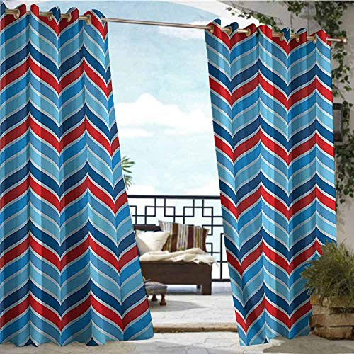 Outdoor Blackout Curtains Geometric Decor Collection,Abstract Pattern Braid Chevron Joyful Curvy Ogee Classical Shape Symmetry Design,Navy Blue Red,W96