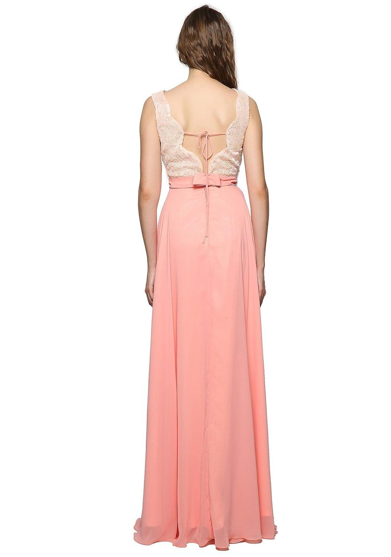 GEORGE BRIDE Gasa de lentejuelas de color rosa a largo vestidos de noche vestido de fiesta vestido de fiesta Tama?o 42: Amazon.es: Ropa y accesorios