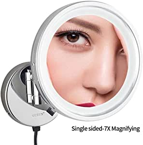 "Makeup Mirror,LED Wall Mounted Mirrors,8.5"" Single Sided Brass Lighted Magnification Makeup Shaving Extendable with Switch Electrical Plug (Size : 7X)"