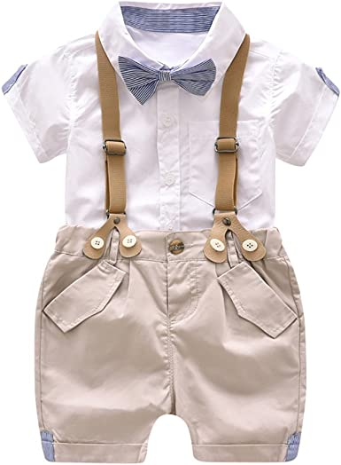 Baby Boy Suit Gentleman White Grey Outfit Smart Party Birthday Baptism Summer