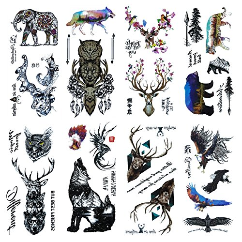 Tattoos Bears (COKOHAPPY 8 Sheets Temporary Tattoo 27+ Different Designs for Men Women Arm Shoulder Flower, Eagle, Bear, Tiger, Owl, Wolf, Elephant, Deer)