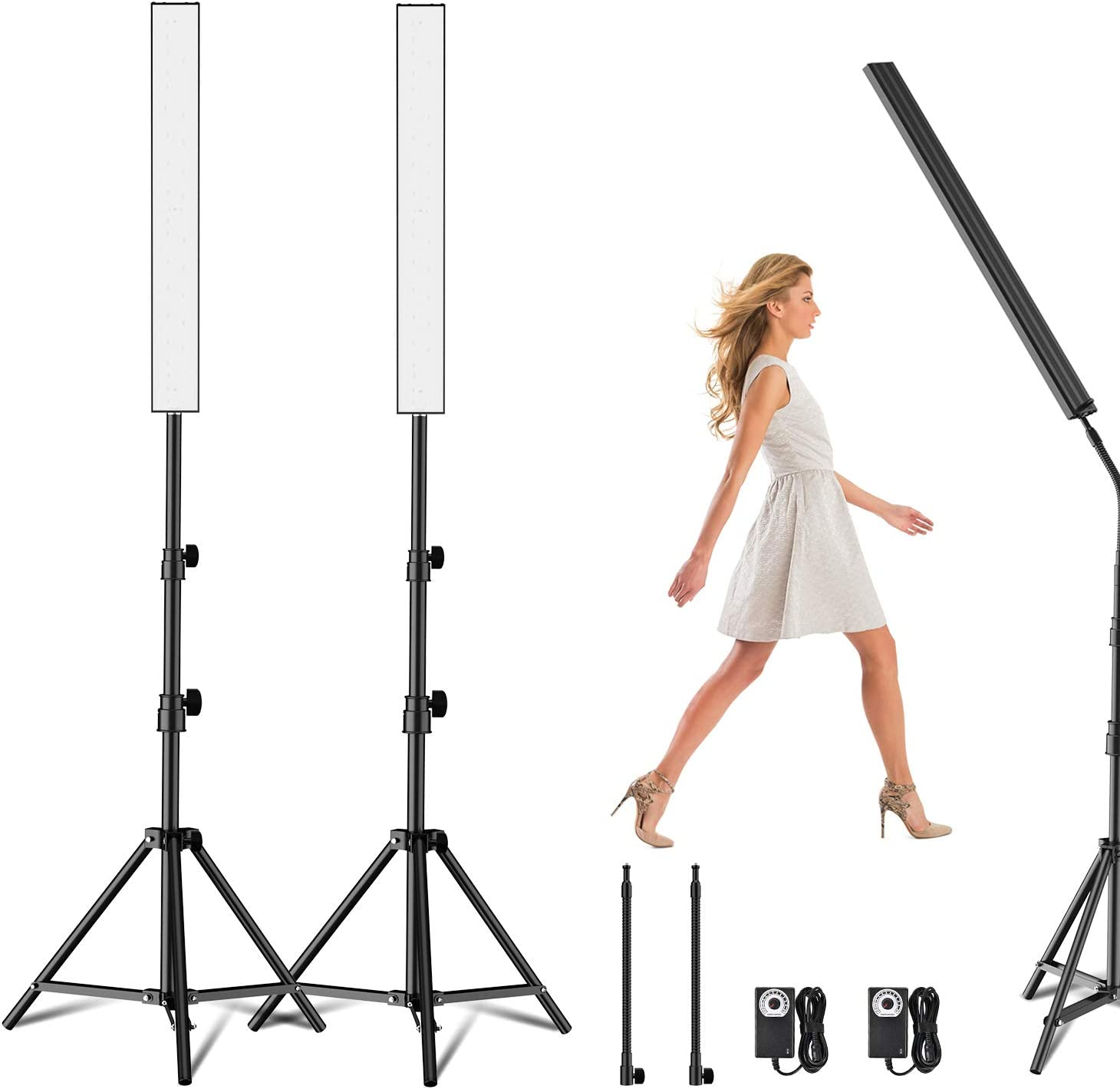 Yesker LED Video Light 2 Packs Dimmable Photography Studio Lighting Kit Color 5500K Adjustable Brightness with Tripod Stand for Camera Video Product Portrait Live Stream Shooting