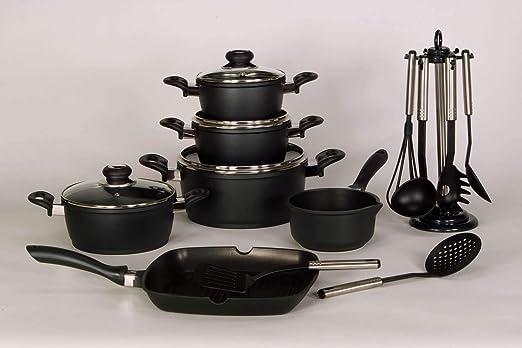 Olla de cocción Juego de 17 piezas) en negro de aluminio ...