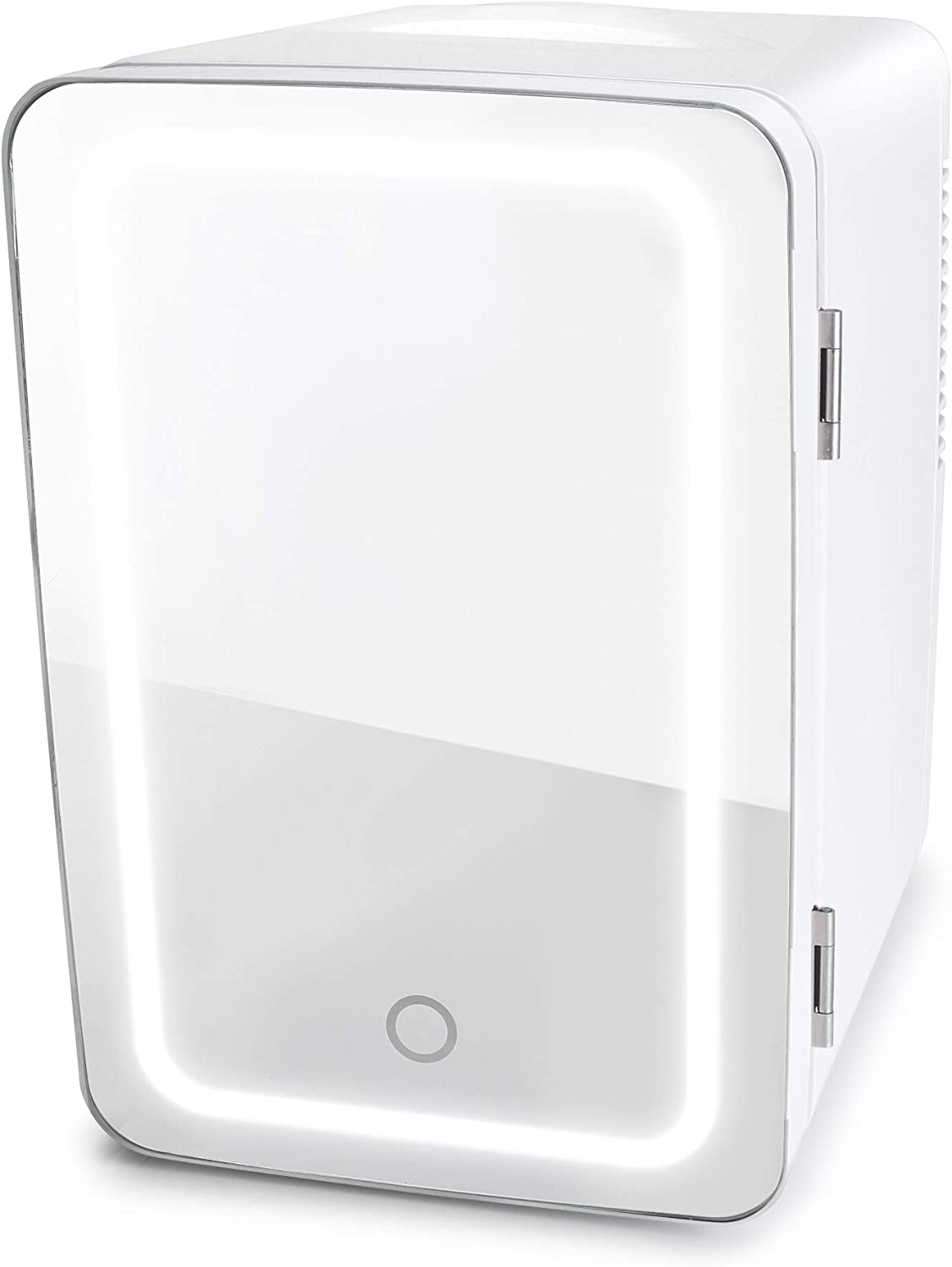 Personal Chiller LED Lighted Mini Fridge with Mirror Door, White