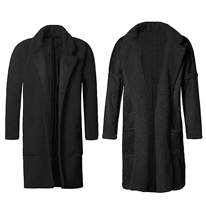 735c17a2bf Amazon.com  MIXLIMITED Men s Long Coat Warm Plush Slim Fashion Cardigan  European Style Cotton Overcoat  Clothing
