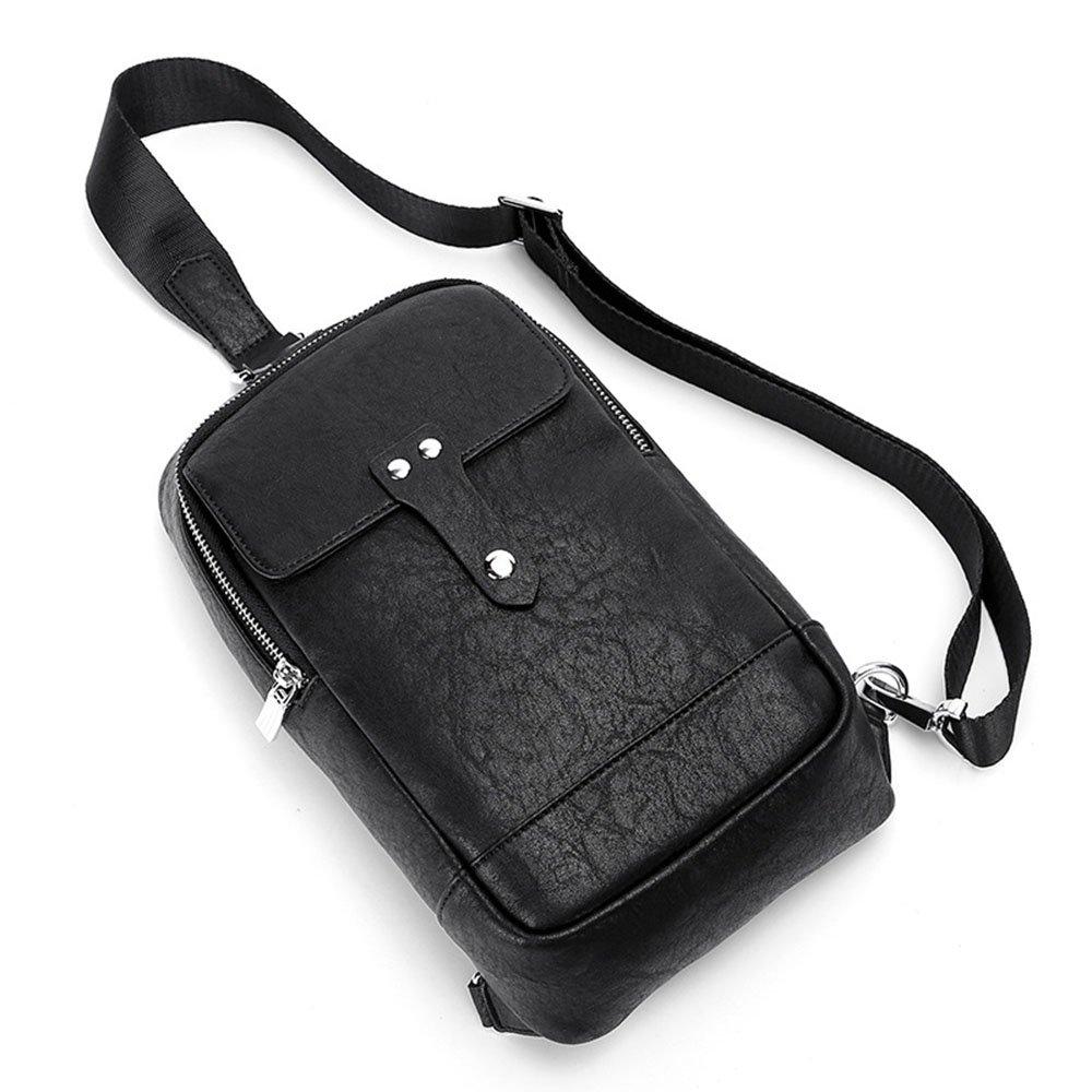 Ybriefbag Outdoor Sports Men Chest Bag Soft Leather Shoulder Bag Crossbody Bag Messenger Bag Daypack for Business Casual Sport Chest Pack Daypack