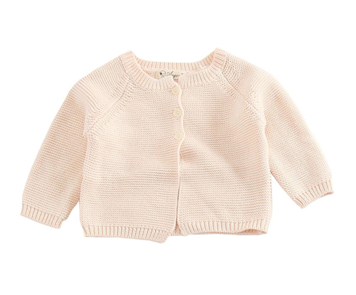 TAIYCYXGAN Baby Girls Fine Knit Cardigan Sweaters Infant Toddlers Cotton Soft Sweater Jacket Coat Shrug Beige 100