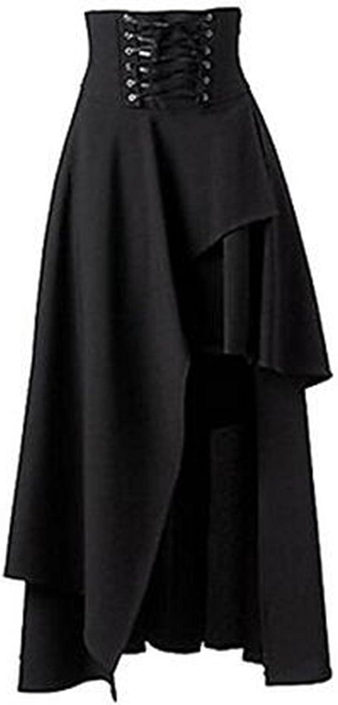 Jupe longue pour femme Taiduosheng Noir, style gothique, punk Court devant, long derrière