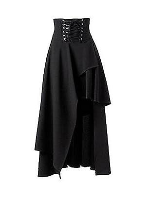 195ff1f8cee5 Taiduosheng schwarzer Damenrock, vorne kurz, hinten lang, mit Schnürtaille,  Gothic-   Punk-Look  Amazon.de  Bekleidung