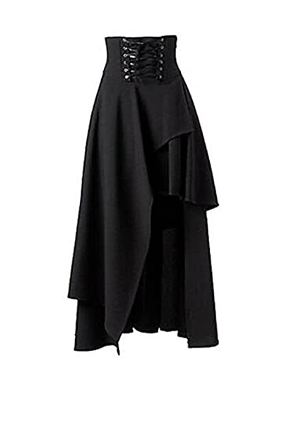 9c4ce56644 Taiduosheng Women's Black Gothic Punk Front short back long Band Waist Skirt  Small(Size: