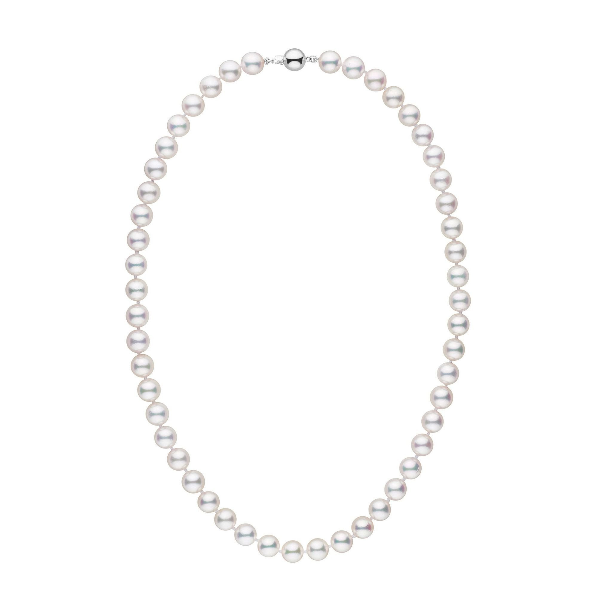 8.0-8.5 mm 18 inch AAA White Akoya Cultured Pearl Necklace - 14K White Gold