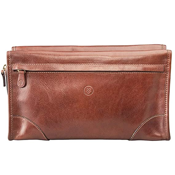 823f9a01370f Maxwell Scott Men's Luxury Italian Leather Wash Bag - Tanta Tan ...