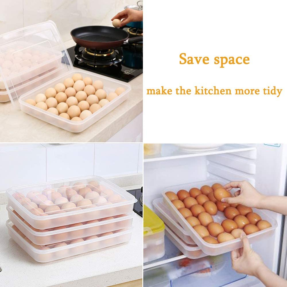 Egg Tray for Refrigerator,30 Egg Containers Deviled Egg Tray with Lid,Plastic Fridge Egg Holder Storage Box