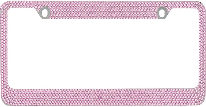 1 Frame BLVD-LPF Hot Pink Crystal Rhinestone License Plate ABS Chrome Frame with Crystal Screw Caps
