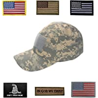f6ae926c6 HOZZQ Tactical Hat Adjustable Operator Flex Mesh Cap Hat with 6 Pieces Tactical  Military Patches USA